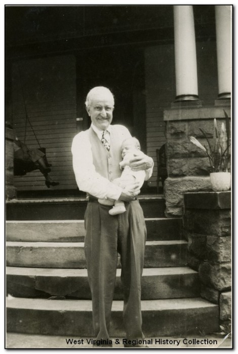 Max Mathers holds George Barrick Jr