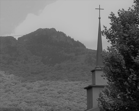 Grandfather Mtn bridge and steeple BW