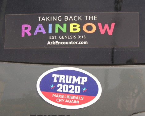 Taking Back the Rainbox and Trump 2020 signs